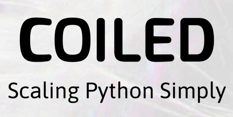 """Coiled logo with slogan """"Scaling Python Simply""""."""