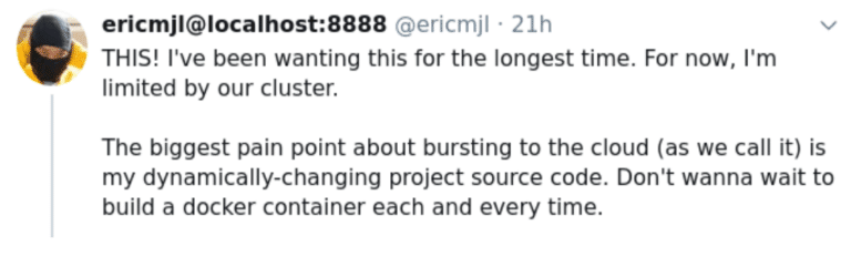 An Eric Ma tweet about bursting to the cloud and dynamically-changing project source code.