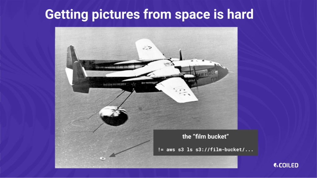 An Air Force aircraft recovering a film bucket.