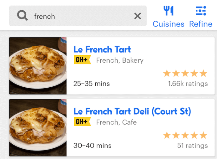 "Grubhub search results for ""french"" with ""Le French Tart"" as the first result."