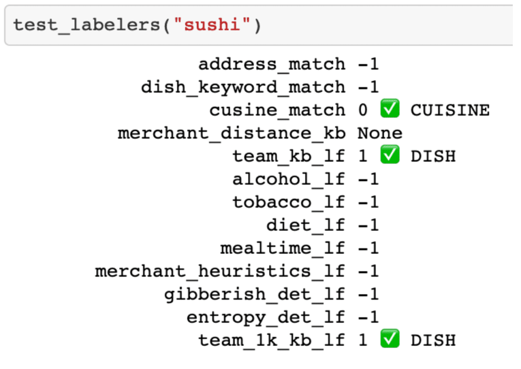 "test_labelers(""sushi"") code and results in a Jupyter Notebook cell."