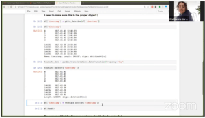 Katharine Jarmul coding in a Jupyter Notebook for a Cape Python with PySpark demo on Coiled's Science Thursday.