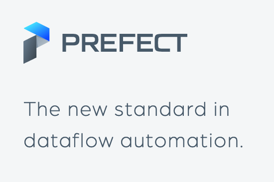 "Prefect logo with slogan ""The new standard in dataflow automation."""