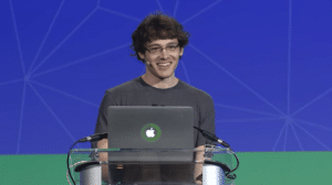 """Tom Augspurger presenting his """"Scalable Machine Learning with Dask"""" talk at AnacondaCon 2018."""